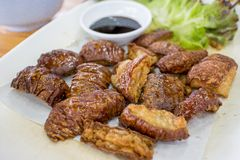Fried pork with vegetable. Eat with boil Stock Image
