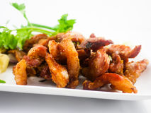 Fried pork. With a vegetable side dish - soft focus Royalty Free Stock Photography