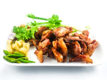 Fried pork. With a vegetable side dish - soft focus Stock Photo