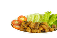 Fried pork and vegetables. Fried pork and tomato,cucumber,lettuce on plate Royalty Free Stock Photos