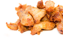 Fried pork on white Royalty Free Stock Photography
