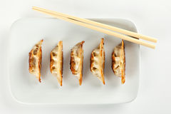 Fried Pot stickers, Dumplings. Traditional Asian Food, Stuffed with Pork Meat or Vegetables royalty free stock image