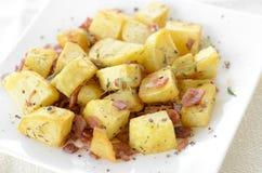 Fried potato with bacon Stock Photo