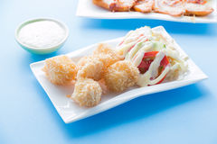 Fried potato ball, Croquette. Fried potato ball presented in a white dish Stock Images