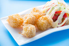 Fried potato ball, Croquette. Fried potato ball presented in a white dish Stock Photography