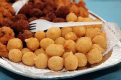 Fried Potato Balls And Meat Balls Stock Photos