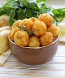 Fried potato balls (croquettes) royalty free stock photography