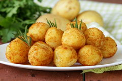 Fried potato balls (croquettes) stock photography