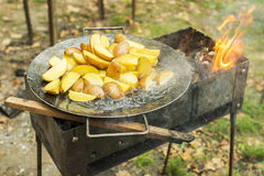 Fried potato in big melal pot. Royalty Free Stock Photos