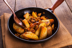 Fried potato and champignons Royalty Free Stock Image