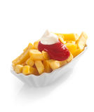 Fried potato chips with ketchup and mayo Stock Images
