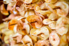 Fried potato chips street food Stock Photos