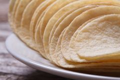 Fried potato chips on a white plate macro Stock Photography