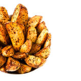 Fried potato in country style  isolated  on white Royalty Free Stock Image