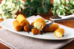 Fried potato croquettes Royalty Free Stock Images