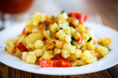 Fried potato cubes with sweet pepper Royalty Free Stock Image