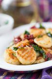 Fried potato gnocchi with sauce of dried tomatoes, spinach Stock Image