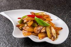 Fried Potato, Green Pepper & Eggplant Royalty Free Stock Photo