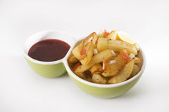 Fried Potato ou Aloo Chaat photo stock