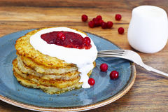 Fried Potato Pancakes. Belarusian and German Cuisine. Stodio Photo Stock Image