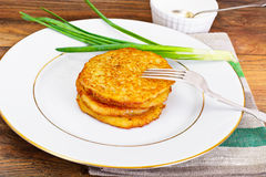 Fried Potato Pancakes. Belarusian and German Cuisine. Studio Photo Stock Photo