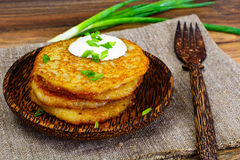 Fried Potato Pancakes. Belarusian and German Cuisine. Studio Photo Royalty Free Stock Photos
