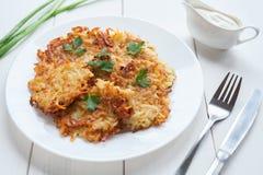 Fried potato pancakes or latke traditional Royalty Free Stock Photography