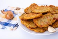 Fried potato pancakes on plate Stock Image