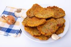 Fried potato pancakes on plate Royalty Free Stock Photo