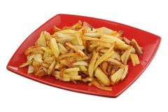 Fried potato on a plate Royalty Free Stock Photos