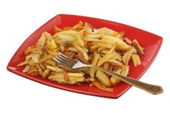 Fried potato on a plate Royalty Free Stock Image