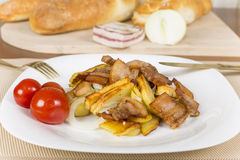 Fried potatoes with bacon Stock Photography