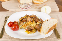 Fried potatoes with bacon Royalty Free Stock Photography