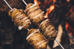 Fried potatoes with bacon on skewers. The concept of eating outd. Oors in the weekend Royalty Free Stock Photo