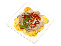 Fried Potatoes and Beef Royalty Free Stock Photography