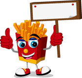 Fried potatoes cartoon thumb up with blank board Royalty Free Stock Photos