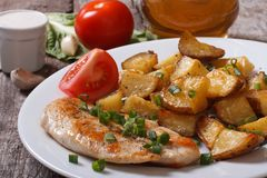 Fried potatoes with chicken steak Royalty Free Stock Photo