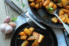 Fried potatoes chips Stock Images