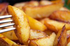 Fried potatoes close-up royalty free stock image