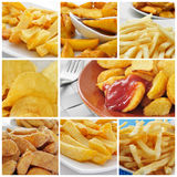 Fried potatoes collage Stock Photos