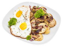 Fried Potatoes and Egg on white Royalty Free Stock Photos