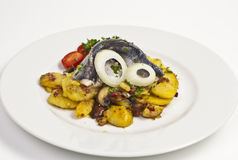 Fried Potatoes with Fish Royalty Free Stock Photo