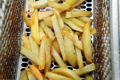 Fried potatoes or french fries. Oily fried potatoes in the fryer Royalty Free Stock Photography