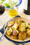 Fried potatoes with goose duck grease and parsley Royalty Free Stock Photos