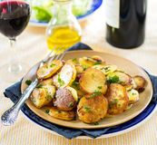 Fried potatoes with goose duck grease and parsley Stock Images