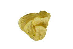 Fried potatoes isolated grooved. On a white background Royalty Free Stock Photography