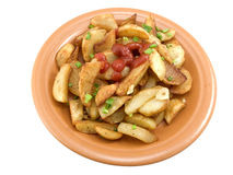 Fried potatoes with ketchup Royalty Free Stock Images