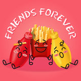 Fried potatoes and ketchup and mustard cartoon Royalty Free Stock Images
