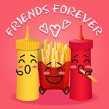 Fried potatoes and ketchup and mustard cartoon Royalty Free Stock Photography