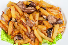 Fried potatoes with mushrooms Royalty Free Stock Photography